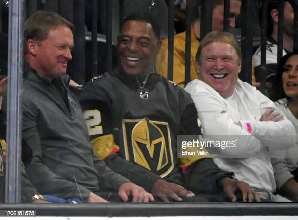 Las Vegas Raiders head coach Jon Gruden Pro Football Hall of Fame member and former Raider Marcus Allen and Raiders owner and managing general...