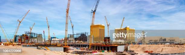las vegas raiders stadium under construction - erection stock pictures, royalty-free photos & images