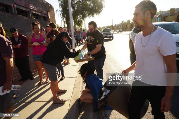 Las Vegas Resident Jack Wagner passing out water and snacks after donating blood this morning at Untied Blood Services Wagner has a few friends there...