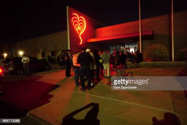 Las Vegas residents wait to donate blood at United Blood Services in Northwest Las Vegas NV on October 2 after a mass shooting at the Route 91...