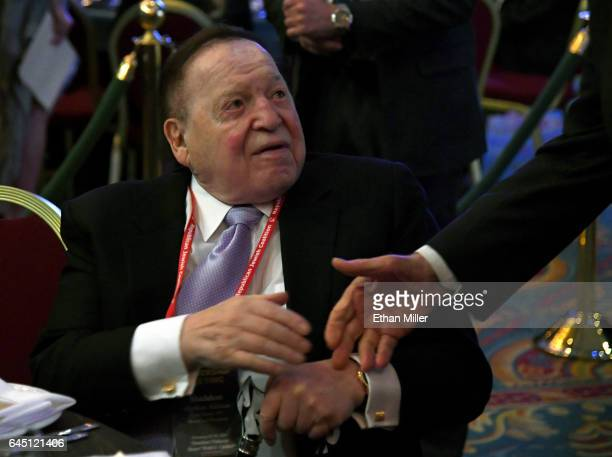 Las Vegas Sands Corp Chairman and CEO Sheldon Adelson is greeted by a guest before a speech by US Vice President Mike Pence at the Republican Jewish...