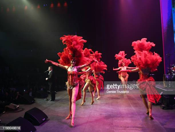 Las Vegas Showgirls perform at the 6th anniversary of Mondays Dark With Mark Shunock at the Pearl Concert Theater at Palms Casino Resort on December...