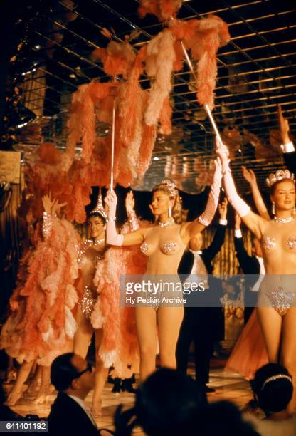 Las Vegas showgirls perform on stage during a show circa 1957 at the Las Vegas Club in Las Vegas Nevada