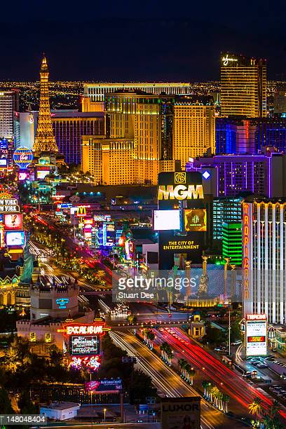 Las Vegas skyline and the Strip at night