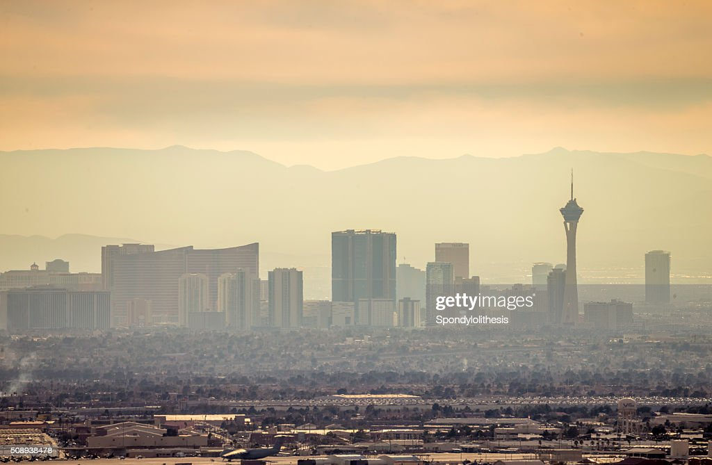 Las Vegas Skyline under a fogy day : Stock Photo