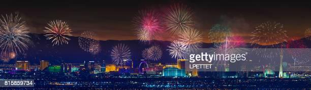 las vegas strip fireworks - las vegas boulevard stock pictures, royalty-free photos & images