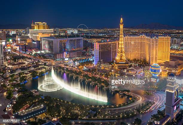 Las Vegas Strip with Bellagio Fountain Show