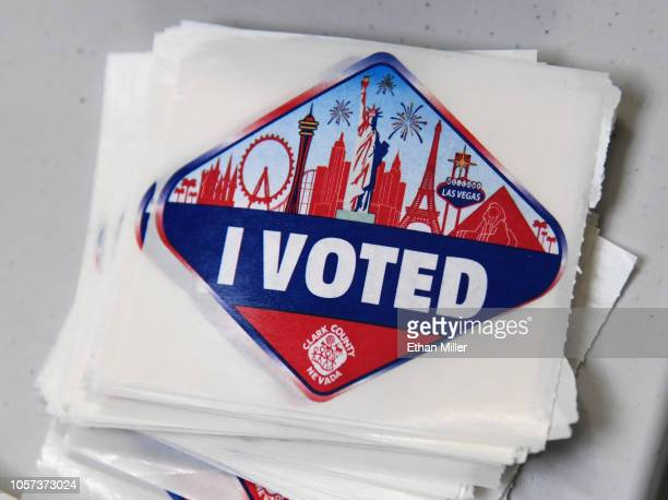 Las Vegas Stripthemed I Voted stickers are displayed on the first day of early voting at the Meadows Mall on October 20 2018 in Las Vegas Nevada...