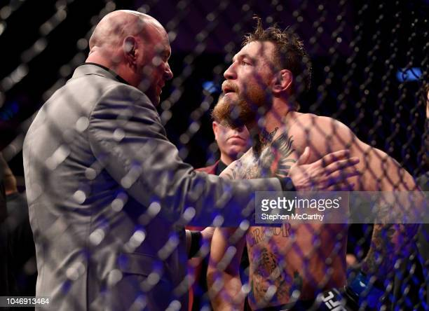 Las Vegas United States 6 October 2018 Conor McGregor in conversation with UFC President Dana White following defeat to Khabib Nurmagomedov in their...