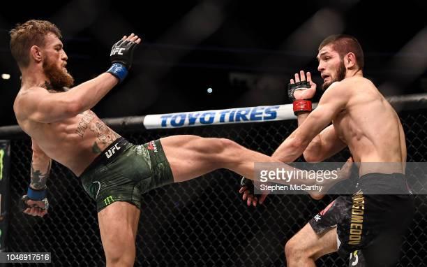 Las Vegas United States 6 October 2018 Conor McGregor left in action against Khabib Nurmagomedov in their UFC lightweight championship fight during...