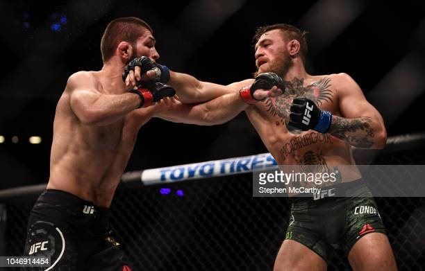 Las Vegas United States 6 October 2018 Conor McGregor right in action against Khabib Nurmagomedov in their UFC lightweight championship fight during...