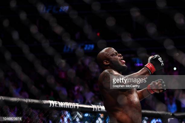 Las Vegas United States 6 October 2018 Derrick Lewis celebrates defeating Alexander Volkov in their UFC heavyweight fight during UFC 229 at TMobile...