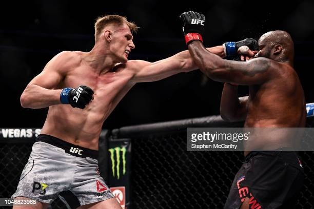 Las Vegas United States 6 October 2018 Derrick Lewis right in action against Alexander Volkov in their UFC heavyweight fight during UFC 229 at...