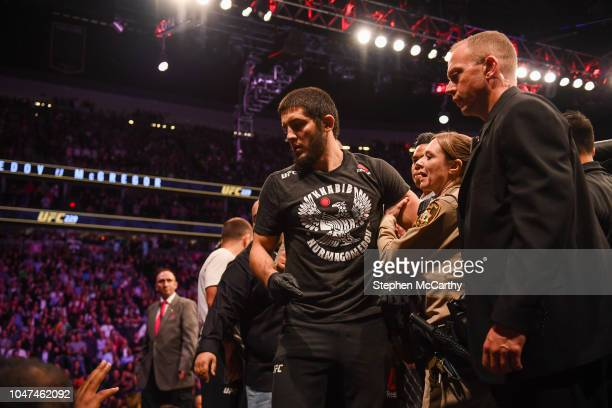Las Vegas United States 6 October 2018 Islam Makhachev is restrained after the UFC lightweight championship fight between Khabib Nurmagomedov and...
