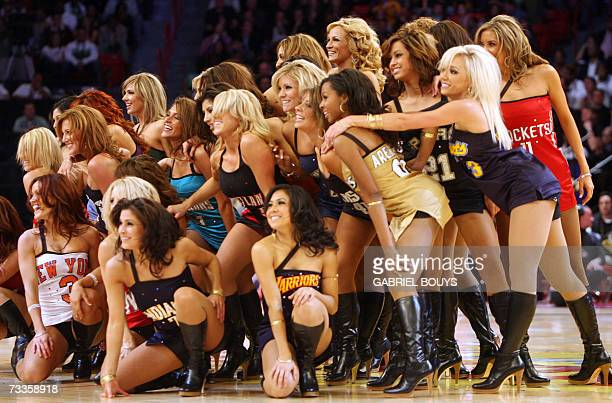 Cheerleaders from each NBA team perform during the slam dunk contest of the NBA All Star Game 17 February 2007 in Las Vegas Nevada AFP PHOTO /...