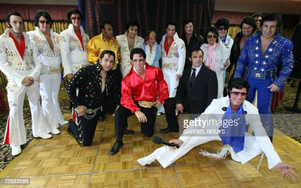 Elvis Presley's impersonators pose before the final of the Elvis Presley lookalike contest in Las VegasNevada 12 November 2006 AFP PHOTO GABRIEL BOUYS