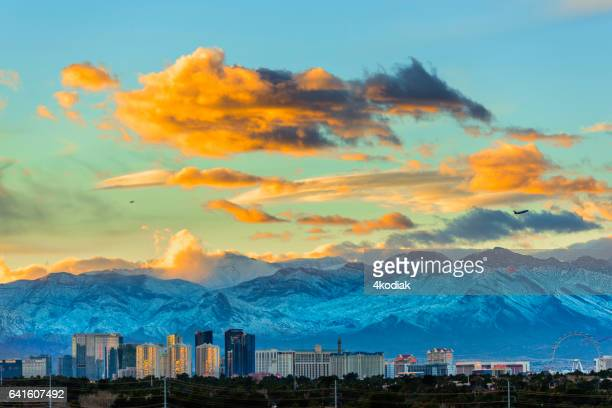 las vegas  with snow capped mountain in winter - mt charleston stock photos and pictures