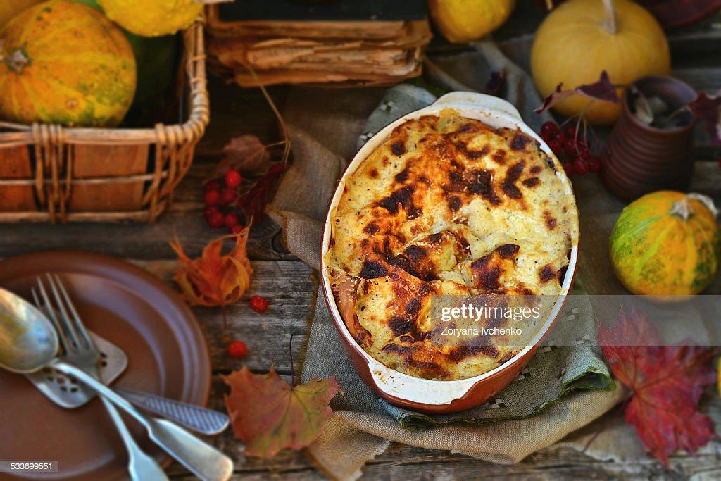 Lasagne au gratin with pumpkin : Foto stock