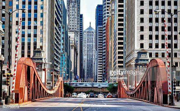 lasalle street bridge and chicago board of trade - chicago illinois stock pictures, royalty-free photos & images