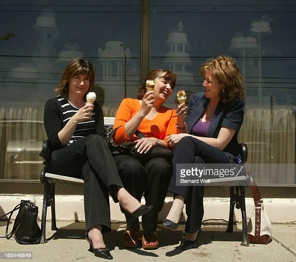 LaSem_BW02_051904--Lynn Shelly, Gonul Ozkul, and Ina Brancati enjoy a lunchtime treat outside La Sem Ristorante, May 19, 2004. Behind them are...