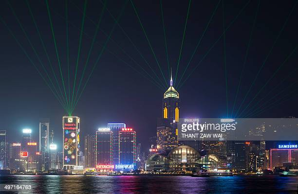 Laser and multimedia display show featuring skyscrapers on both sides of the Victoria Harbour of Hong Kong.
