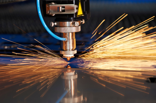 Laser cutting of metal sheet with sparks 177007701