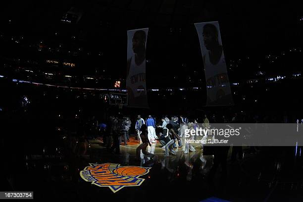 A laser image of the New York Knicks logo in the floor prior to Game Two of the Eastern Conference Quarterfinals during the 2013 NBA Playoffs on...