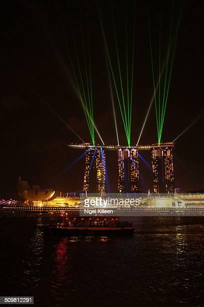 Laser light show at Marina Bay Sands illuminates the waterfront and skies of the Marina Bay area every evening seven days a week, Marina bay,...
