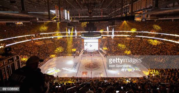 A laser light show entertains the crowd before the NHL Stanley Cup Finals Game 2 between the Nashville Predators and the Pittsburgh Penguins at PPG...