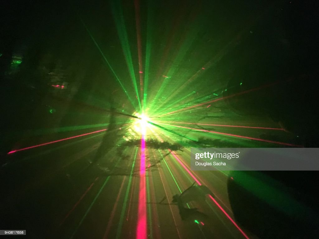 Laser light show in a dark room : Stock-Foto