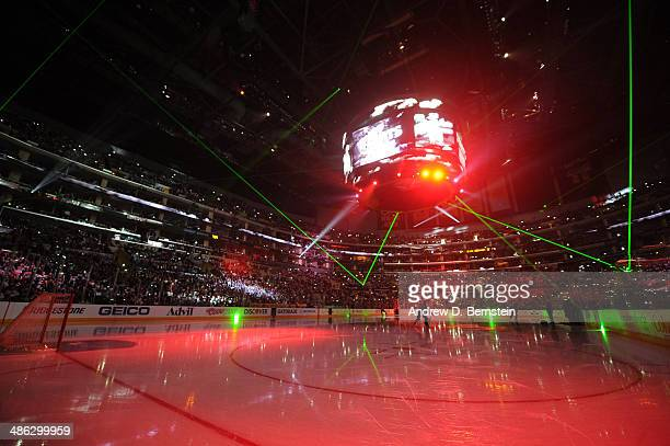 Laser lights are emitted across the arena during an intermission of Game Three of the First Round of the 2014 Stanley Cup Playoffs between the San...