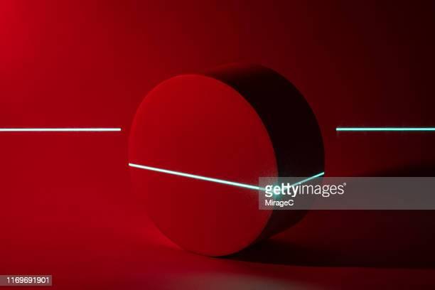 laser scanning cylinder shape - reflexo efeito de luz imagens e fotografias de stock