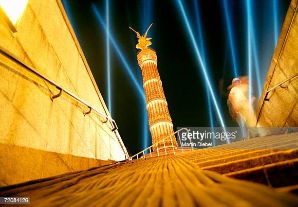 Laser show near Victory Column (Siegessaule), Berlin, Germany