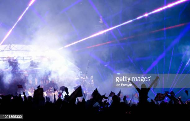 A laser show performance accompanies the music during Yorkshire's biggest openair proms of the summer at Castle Howard on August 18 2018 in Malton...