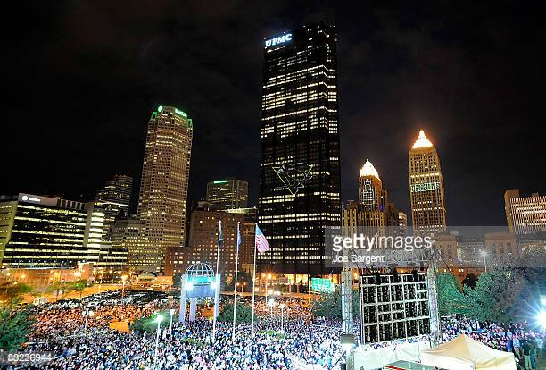 Lasers are projected onto buildings while fans gather to watch the Game Four of the 2009 Stanley Cup Finals between the Pittsburgh Penguins and...