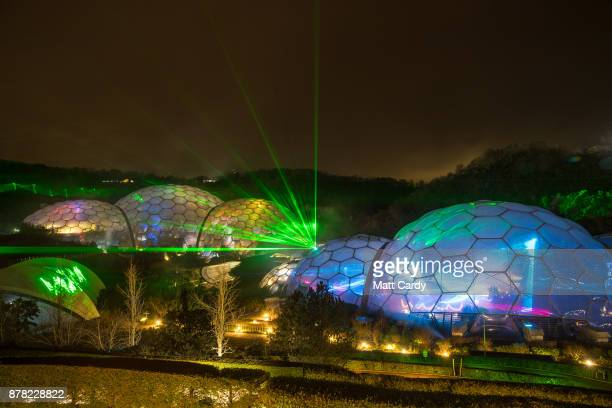 Lasers from the Eden Festival of Light and Sound illuminate the Biomes at The Eden Project near St Austell on November 23 2017 in Cornwall England A...