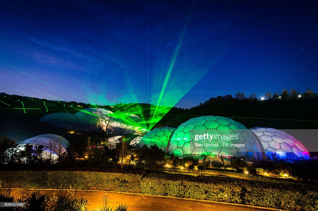 Lasers Light Up The Night Sky And Biomes At Eden Project In Cornwall Where A