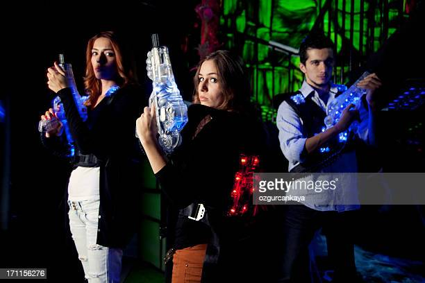lasertag warriors - tag game stock photos and pictures