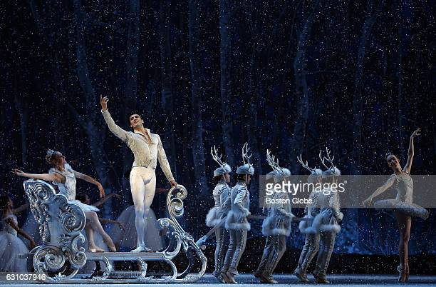 Lasha Khosashvili second from left dances the role of the Snow King with Ashley Ellis dancing the role of the Snow Queen during Boston Ballet's dress...