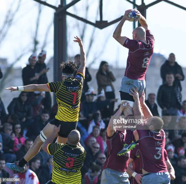 Lasha Lomidze of Georgia wins lineout during the Rugby Europe Championship round 1 match between Georgia and Belgium at Aia Arena on February 10 2018...