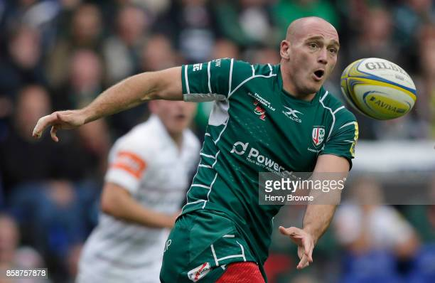 Lasha Lomidze of London Irish during the Aviva Premiership match between London Irish and Leicester Tigers at Madejski Stadium on October 7 2017 in...