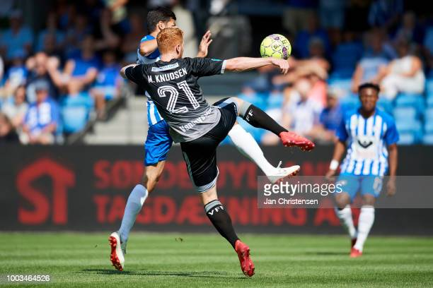 Lasha Parunashvili of Esbjerg fB and Morten Brander Knudsen of Vendsyssel FF compete for the ball during the Danish Superliga match between Esbjerg...