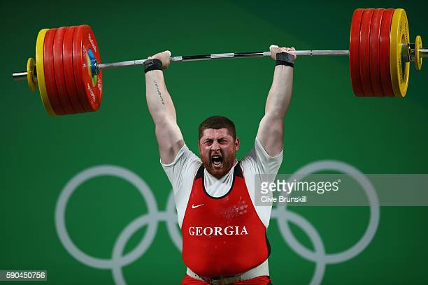 Lasha Talakhadze of Georgia sets a new world record during the Men's 105kg Weightlifting contest on Day 11 of the Rio 2016 Olympic Games at Riocentro...