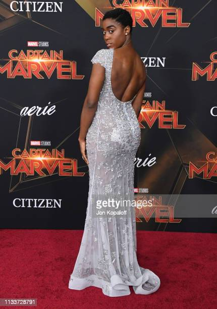 Lashana Lynch attends Marvel Studios Captain Marvel Premiere on March 04 2019 in Hollywood California