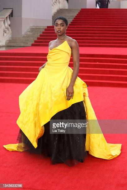 """Lashana Lynch attends the """"No Time To Die"""" World Premiere at Royal Albert Hall on September 28, 2021 in London, England."""
