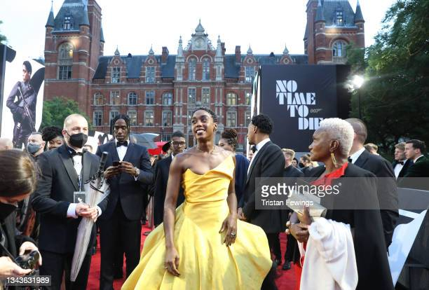 """Lashana Lynch attends the World Premiere of """"NO TIME TO DIE"""" at the Royal Albert Hall on September 28, 2021 in London, England."""