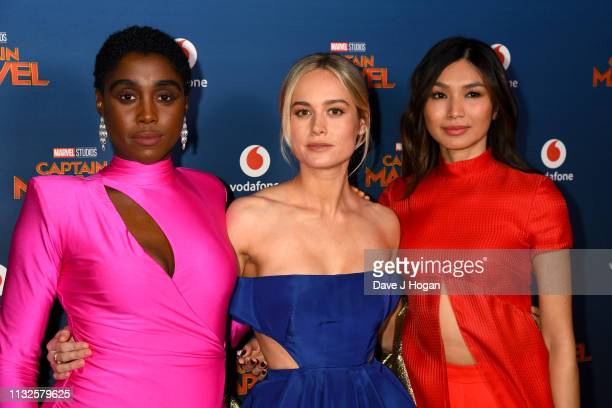 Lashana Lynch Brie Larson and Gemma Chan attend the Captain Marvel European Gala held at The Curzon Mayfair on February 27 2019 in London England