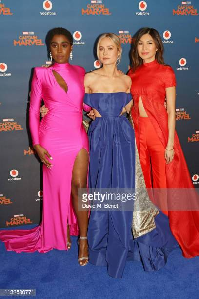"""Lashana Lynch, Brie Larson and Gemma Chan attend the European Gala screening of """"Captain Marvel"""" at The Curzon Mayfair on February 27, 2019 in..."""