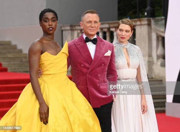 """Lashana Lynch, Daniel Craig and Lea Seydoux attend the """"No Time To Die"""" World Premiere at Royal Albert Hall on September 28, 2021 in London, England."""