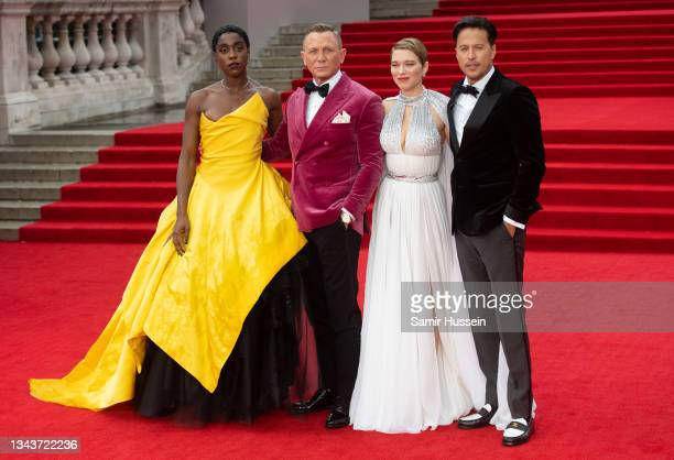 """Lashana Lynch, Daniel Craig and Lea Seydoux attends the """"No Time To Die"""" World Premiere at Royal Albert Hall on September 28, 2021 in London, England."""